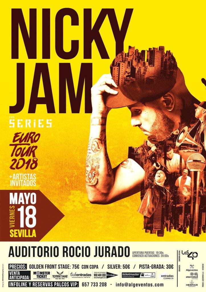 Cartel del concierto de Nicky Jam en Sevilla.