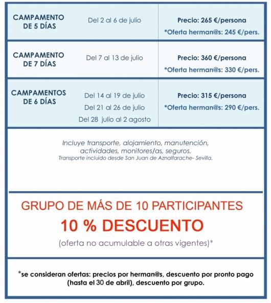TABLA PRECIOS CAMPAMENTO DE VERANO 2014 -2