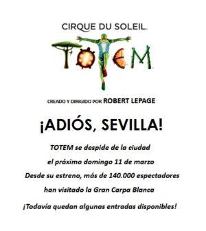 TOTEM de Cirque du Soleil dice ¡Adiós, Sevilla!