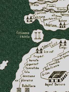 Antiguo mapa donde se representa las columnas de hércules