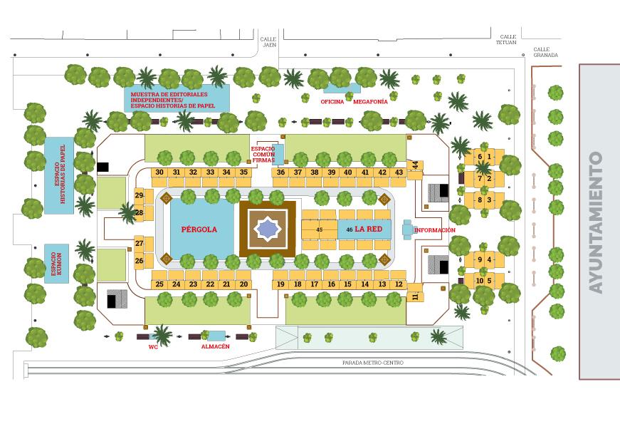 Mapa expositores Feria del libro. Sevilla 2018