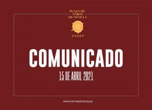 Plaza de Toros de Sevilla: Comunicado