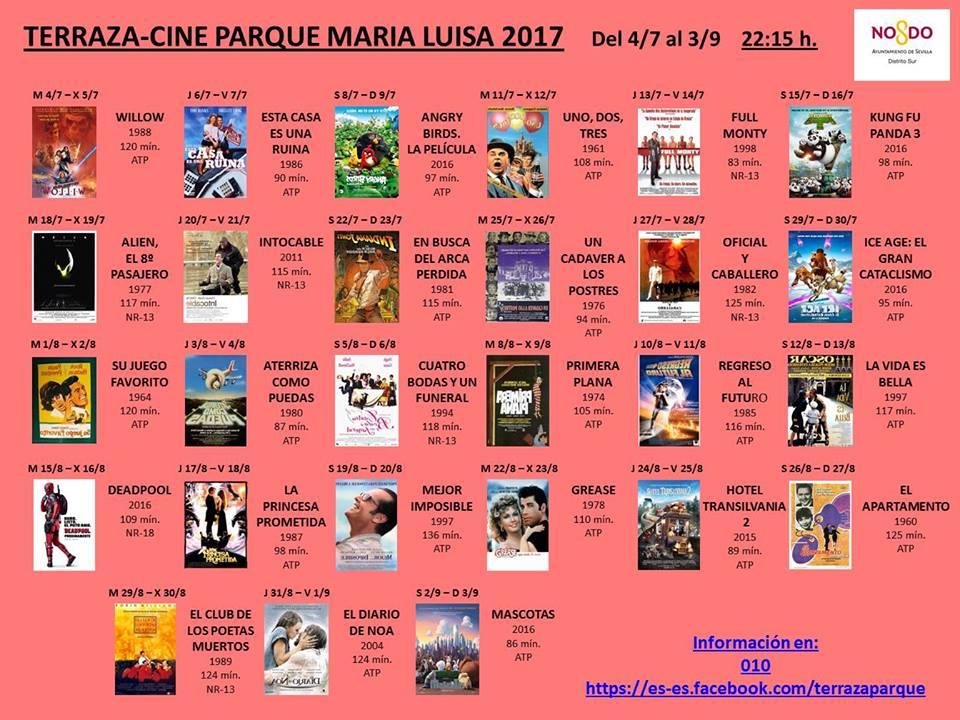 Programación cine de verano Parque de María Luisa 2017. Sevilla