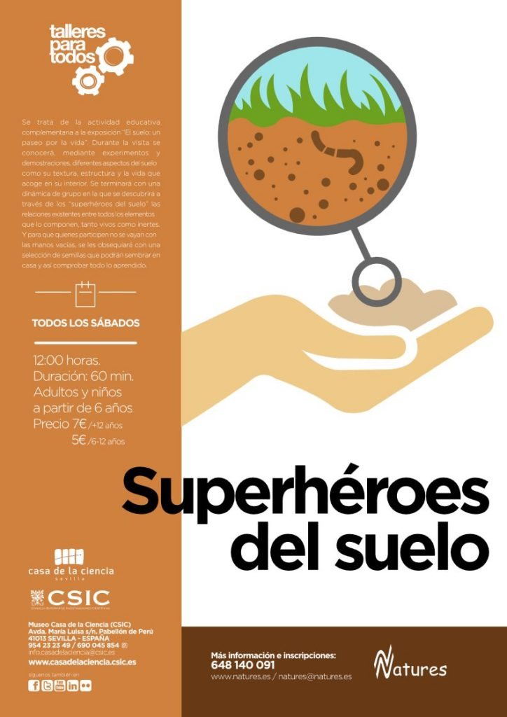 taller-superheroes-del-suelo-casa-de-la-ciencia-sevilla-cartel